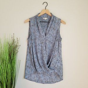 Pleione Blue Patterned Wrap Front Tank Top